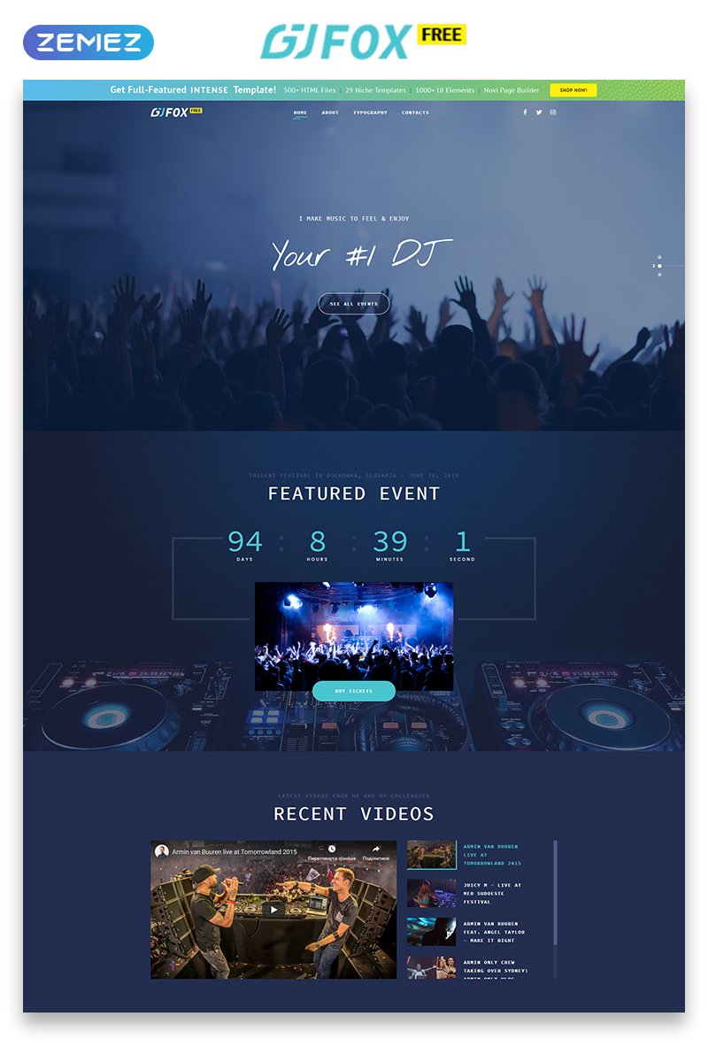 """Template Siti Web Responsive #51514 """"Template Siti Web Gratuito - Musica"""""""