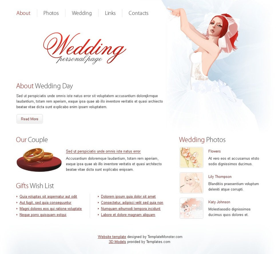 wedding website free html template
