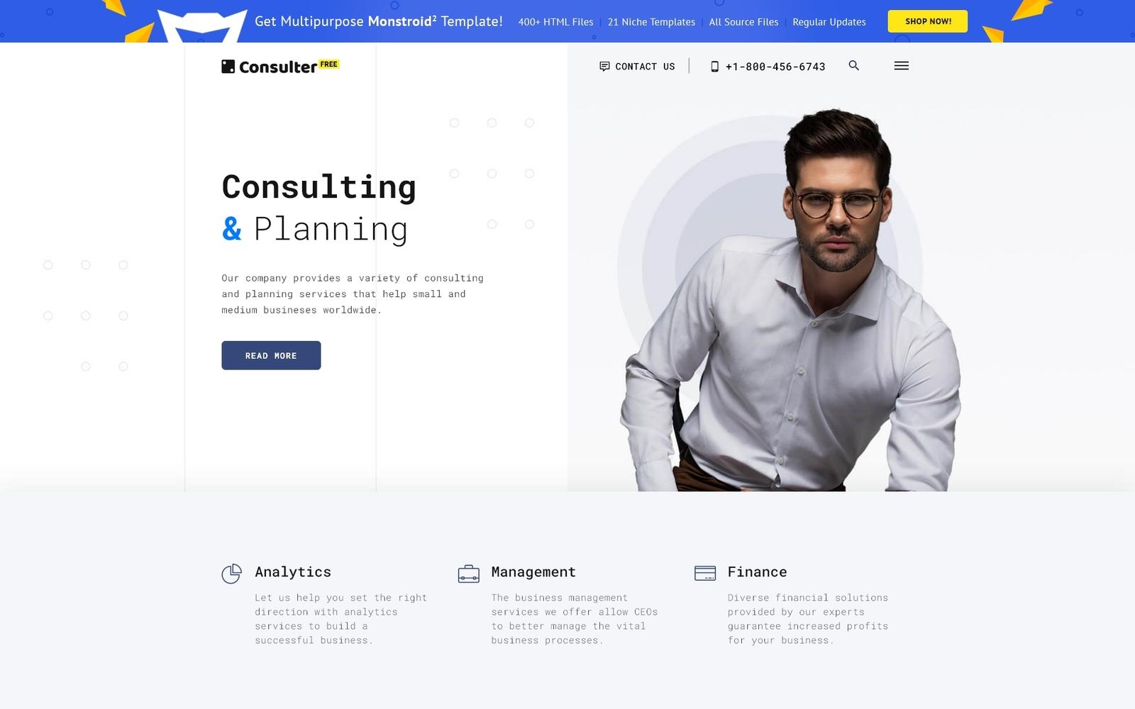 """""""Безкоштовний шаблон HTML5 для консультаційної  фірми"""" - адаптивний Шаблон сайту №51691"""