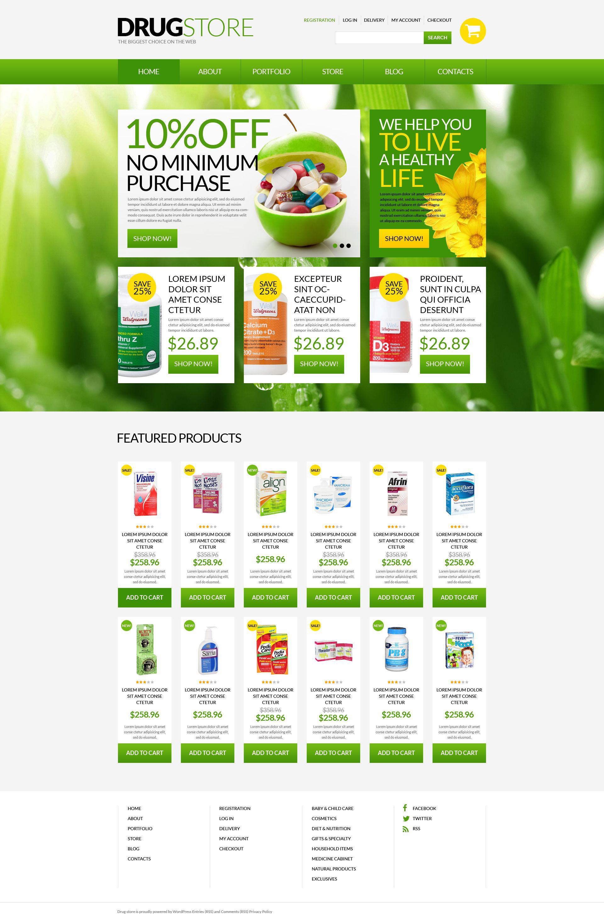 """""""Drugstore"""" Responsive WooCommerce Thema №51697"""