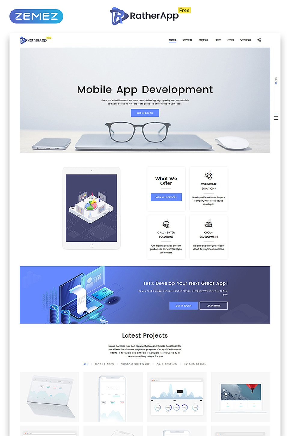Free HTML5 Single Page Theme Website Template
