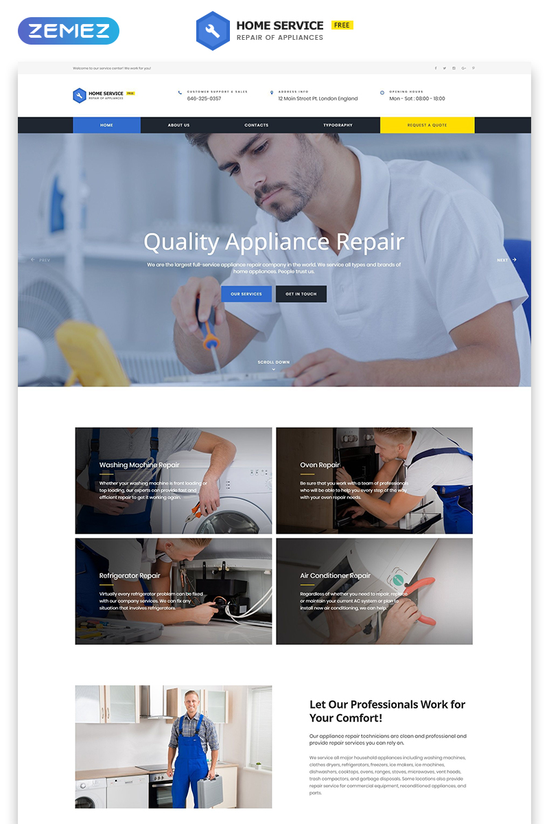 """""""Free HTML5 Theme - Cleaning"""" Bootstrap Website template №51685 - screenshot"""