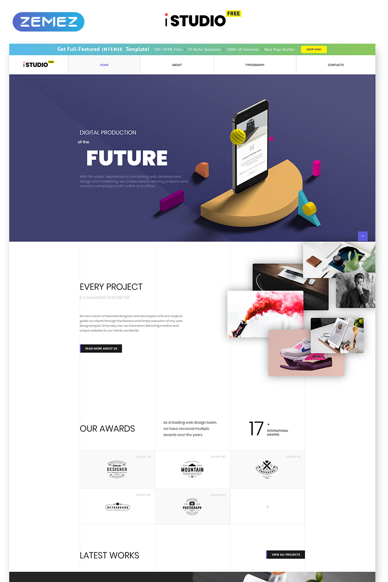 """Free HTML5 Theme - Design Studio"" 响应式网页模板 #51688 - 截图"