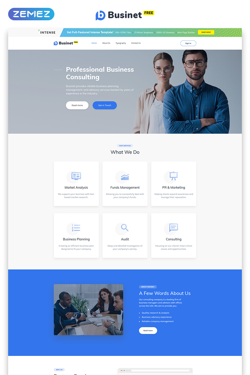 Free HTML5 Theme for Business Site Website Template - screenshot