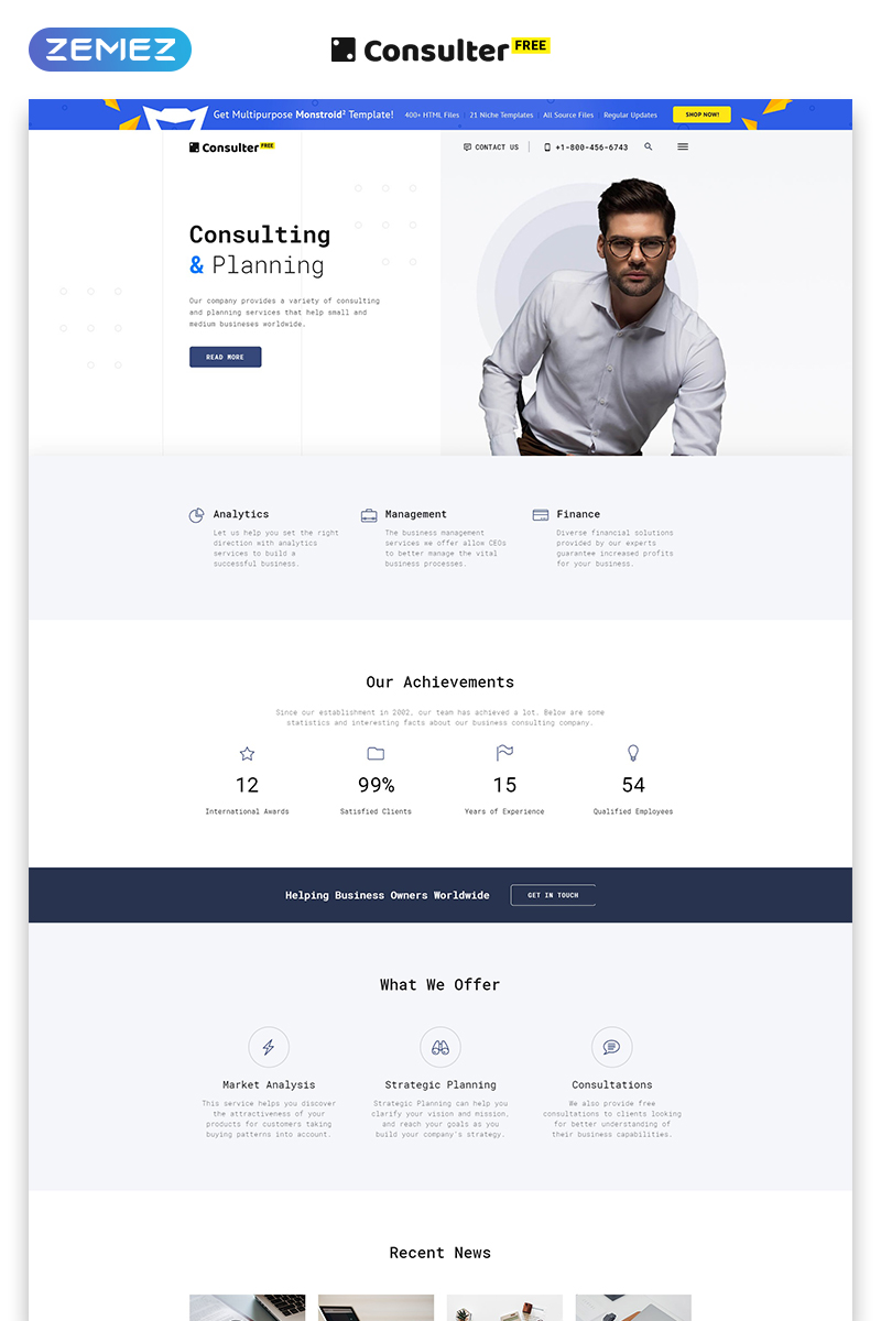 """""""Free HTML5 Theme for Consulting Firm"""" 响应式网页模板 #51691 - 截图"""