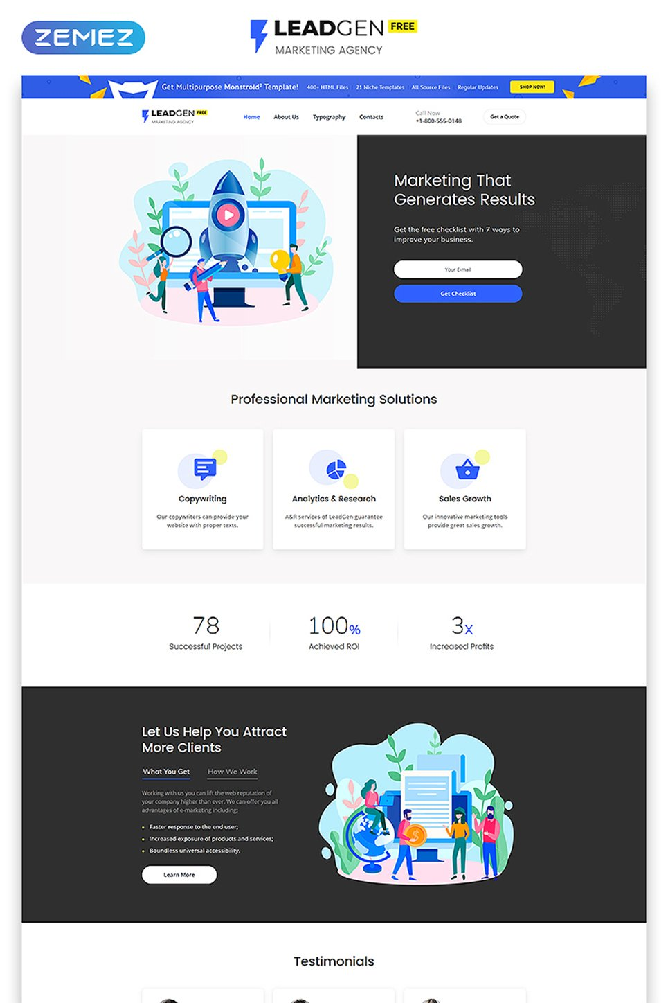"""Free HTML5 Theme for Marketing Agency"" Responsive Website template №51695"