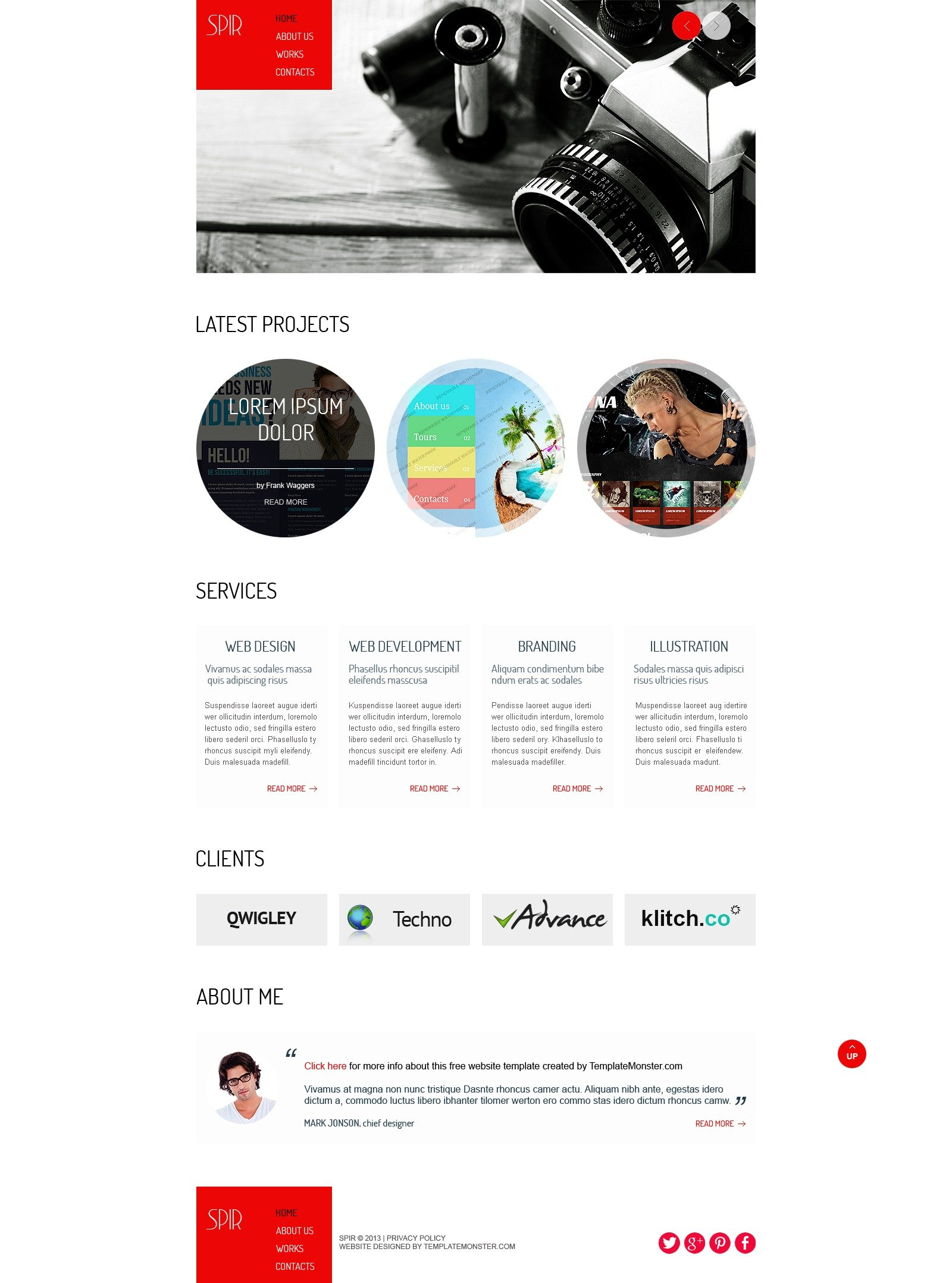 """Free HTML5 Theme for Portfolio"" Website template №51648 - screenshot"