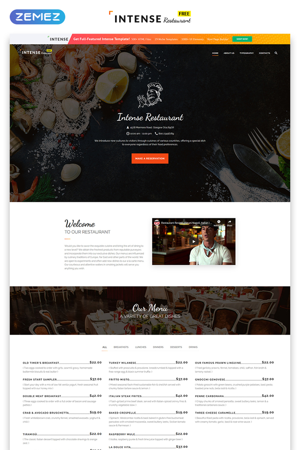 Free Html5 Theme For Restaurant Site Website Template New Screenshots