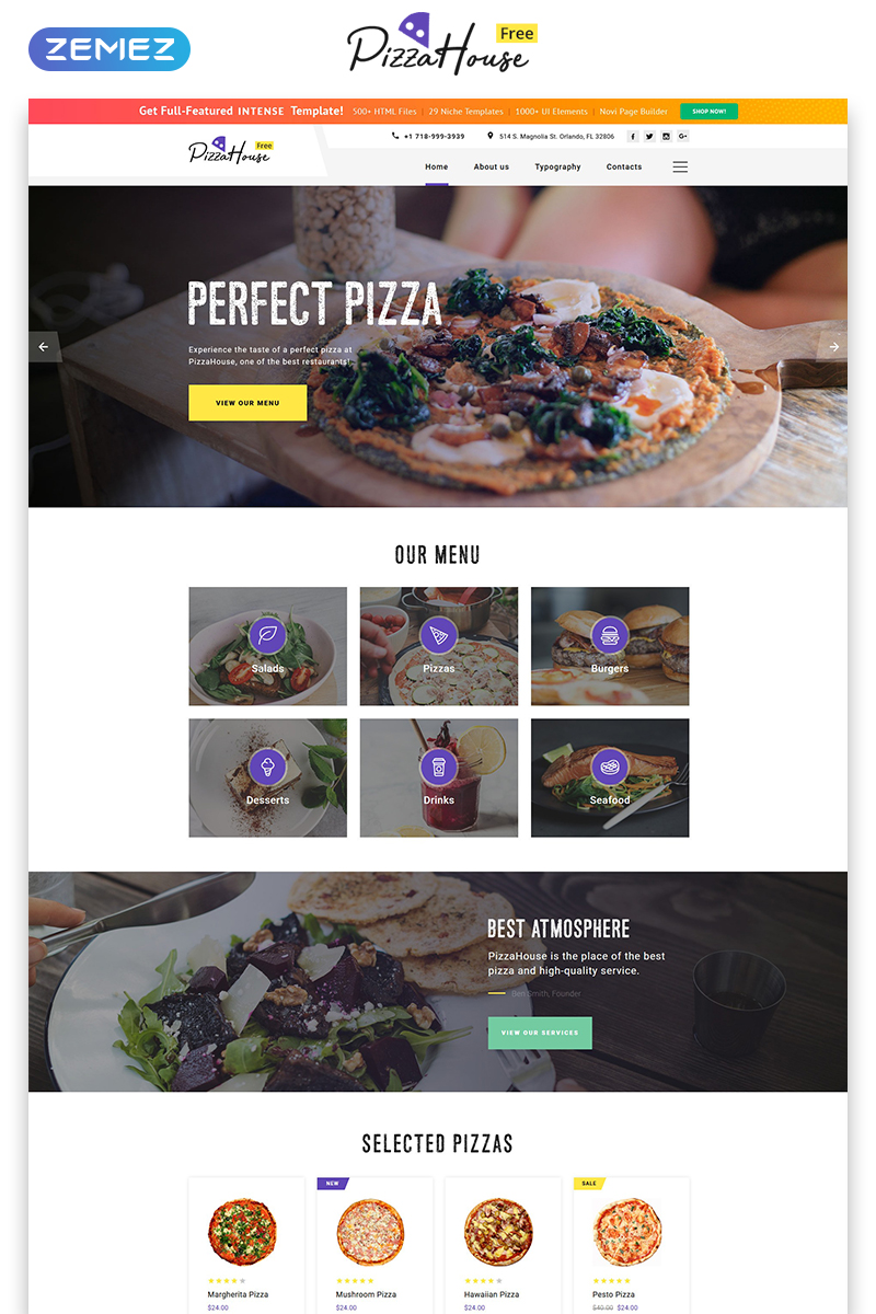 """Free HTML5 Theme for Restaurant Website"" Responsive Website template №51689"
