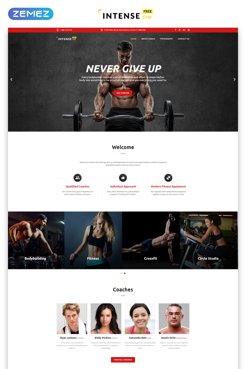 """Free HTML5 Theme for Sport Site"" Responsive Website template №51682 - screenshot"