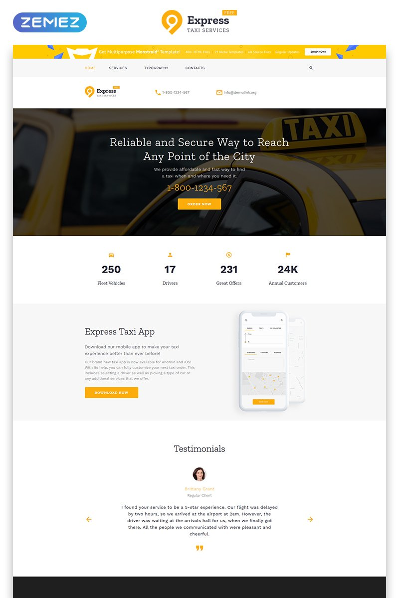 """""""Free HTML5 Theme for Taxi Company"""" Responsive Website template №51680 - screenshot"""