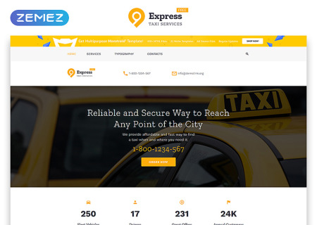 Free HTML5  for Taxi Company
