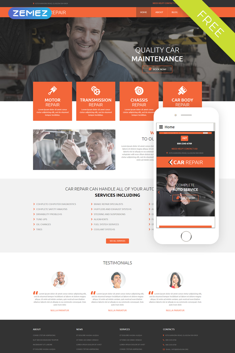 Download free dd car repair joomla template.