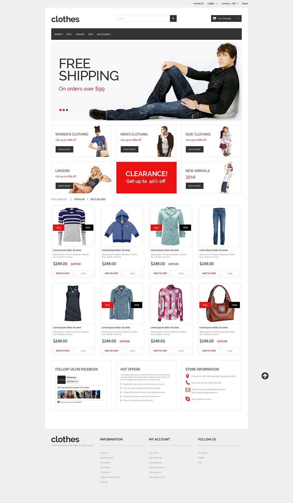 Clothes Free Responsive PrestaShop 1.6 Theme
