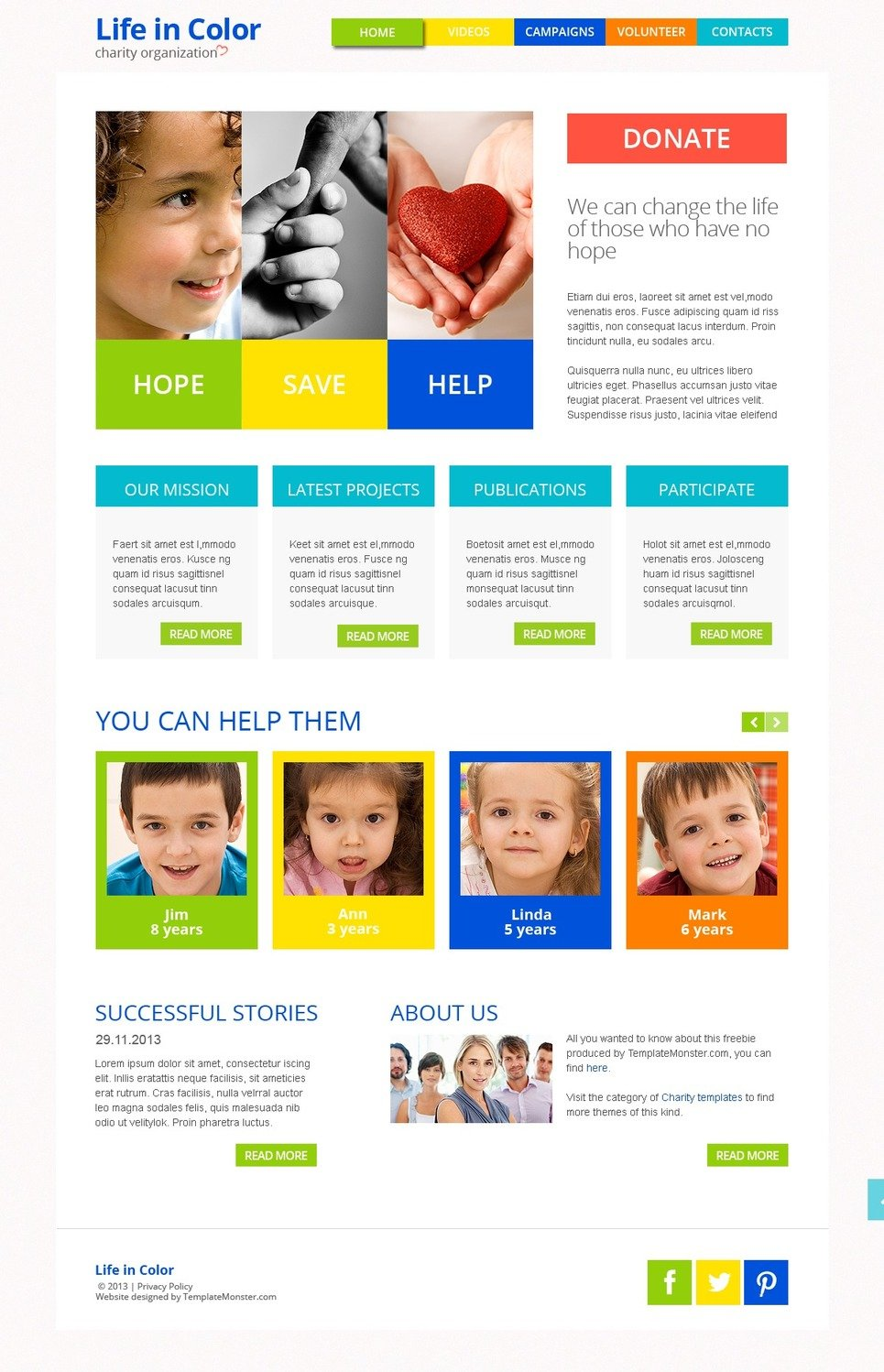 Free Responsive Html5 Theme For Charity Site Website Template New Screenshots