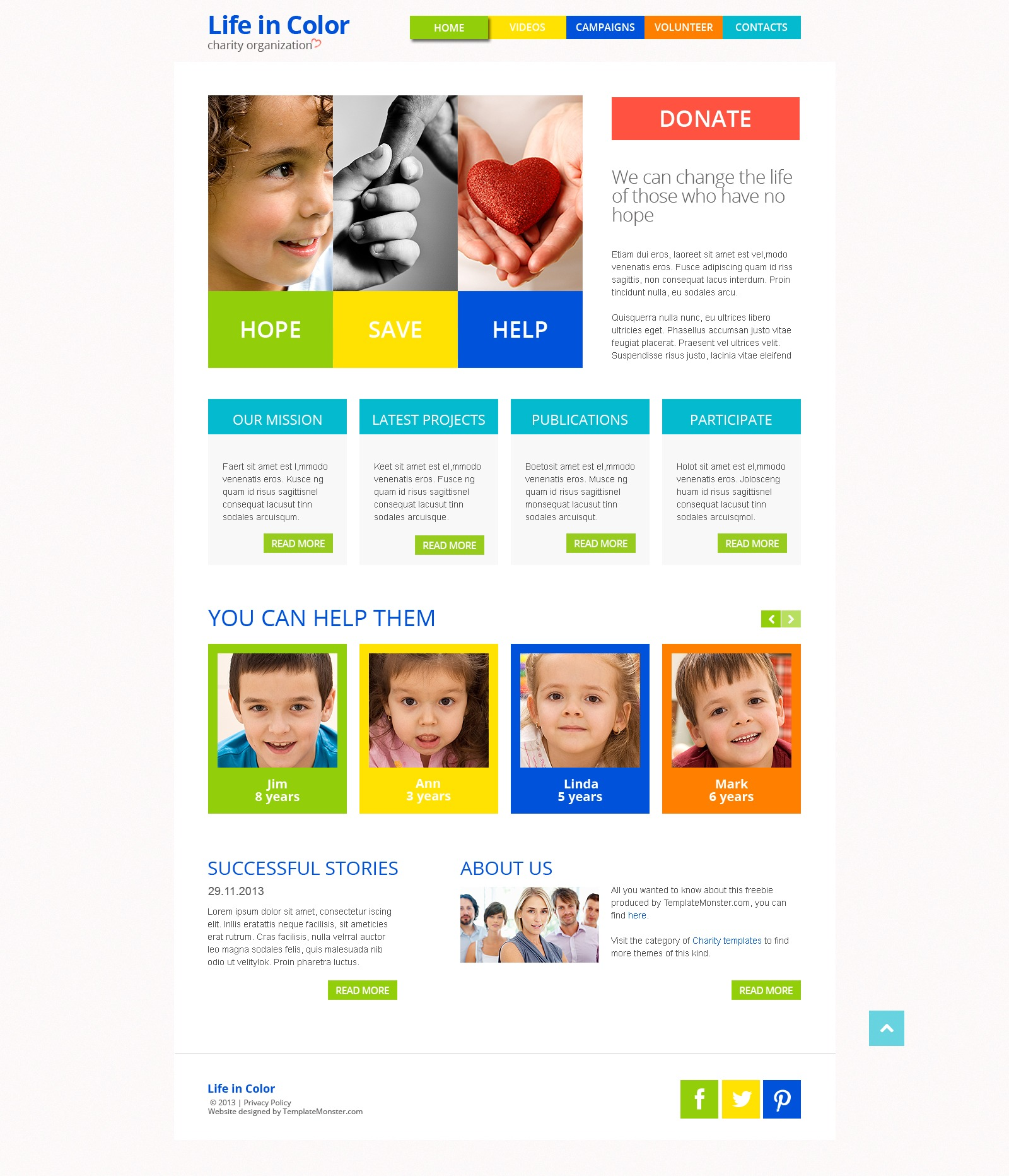 Free Responsive HTML5 Theme for Charity Site Website Template - screenshot