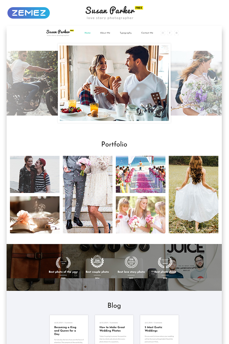 """Free Responsive HTML5 Theme for Photo Site"" 响应式网页模板 #51693 - 截图"