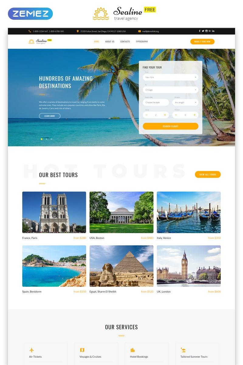 """Free Responsive HTML5 Theme for Travel Agency"" Responsive Website template №51676 - screenshot"