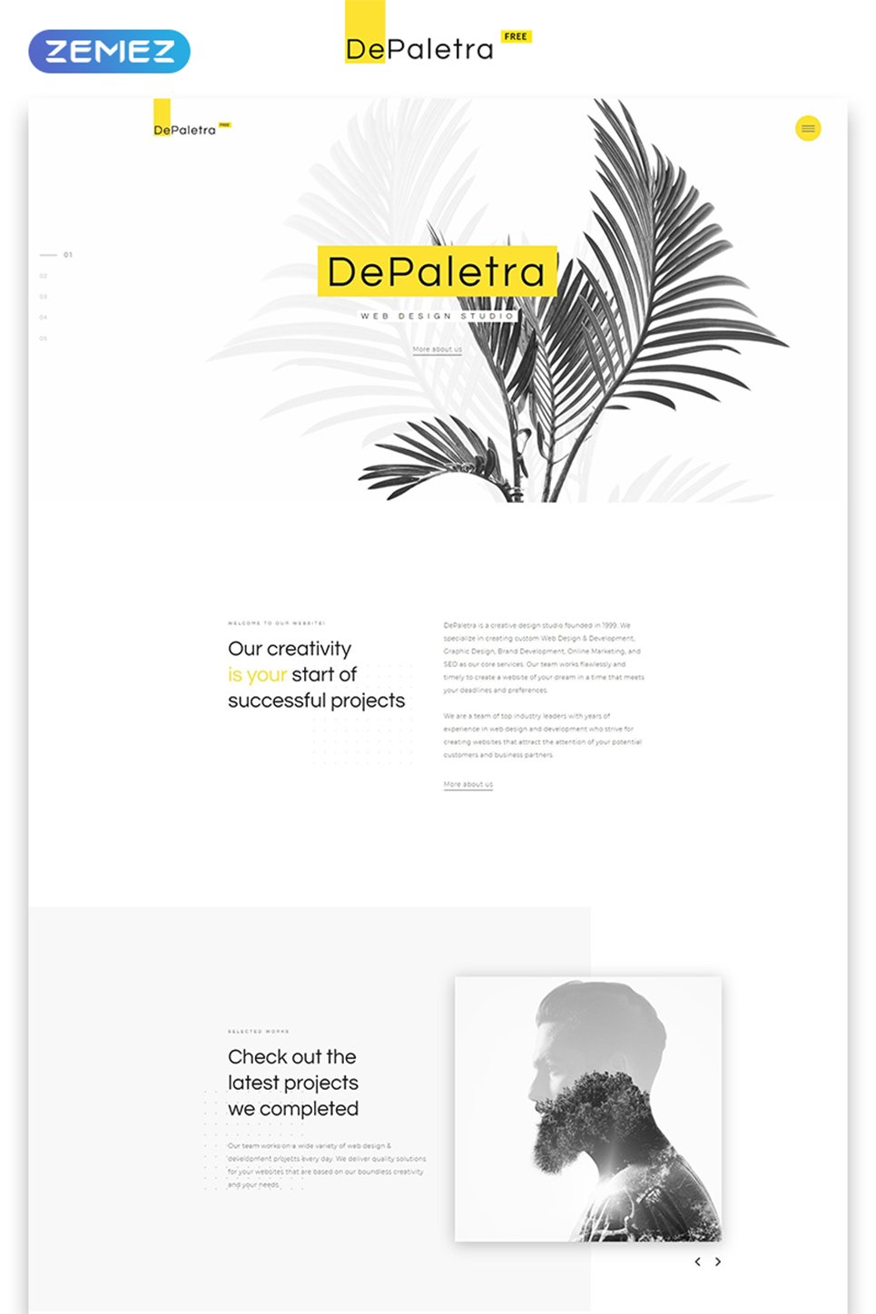 Free Single Page Website Template In Flat Design