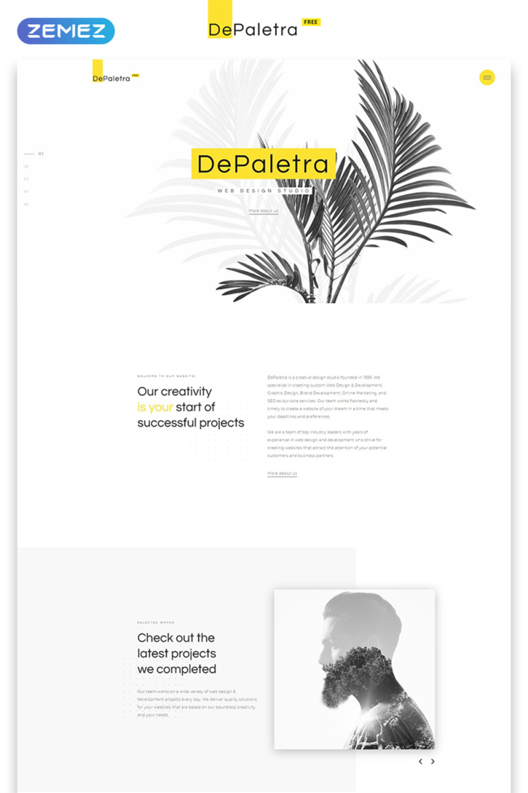Single Page Website Template | Free Single Page Website Template In Flat Design