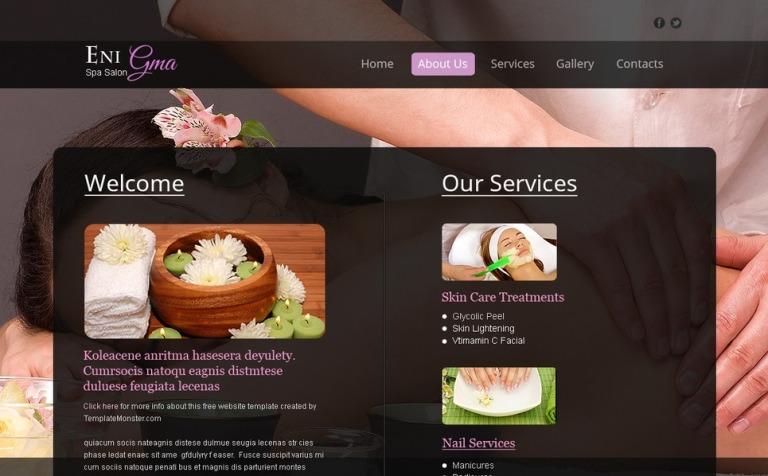 Free Spa Salon Web Template