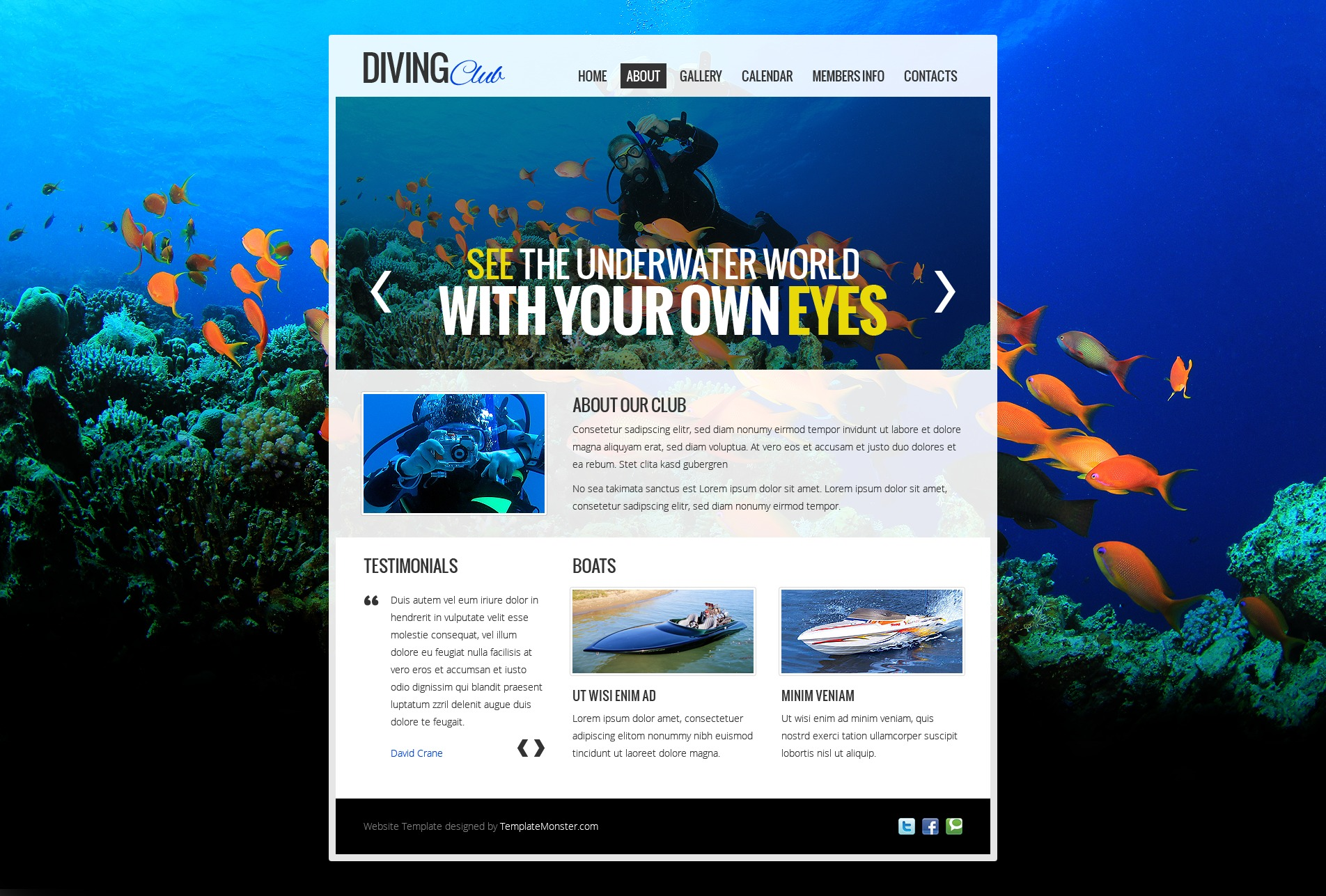 free website template diving club. Black Bedroom Furniture Sets. Home Design Ideas