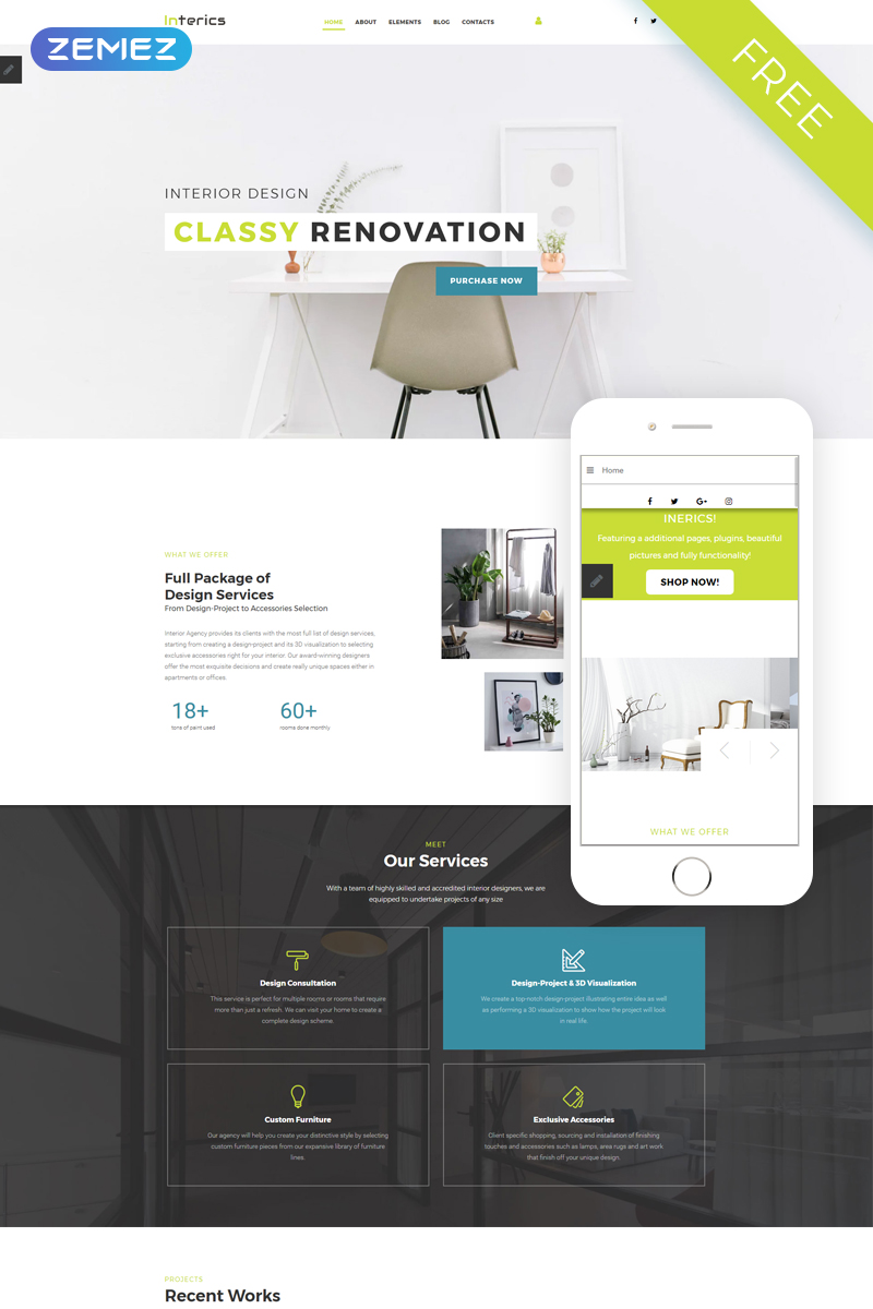 """Interics - Interior Design Free Clean"" Joomla Template №51658 - screenshot"