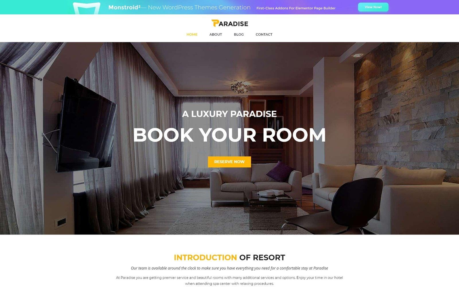 """Modello WordPress Responsive #51632 """"Tema WordPress Gratuito per Hotel"""""""