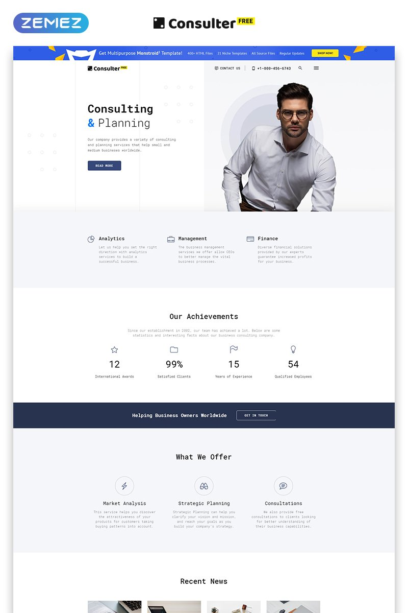 Responsive Free HTML5 Theme for Consulting Firm Web Sitesi #51691 - Ekran resmi