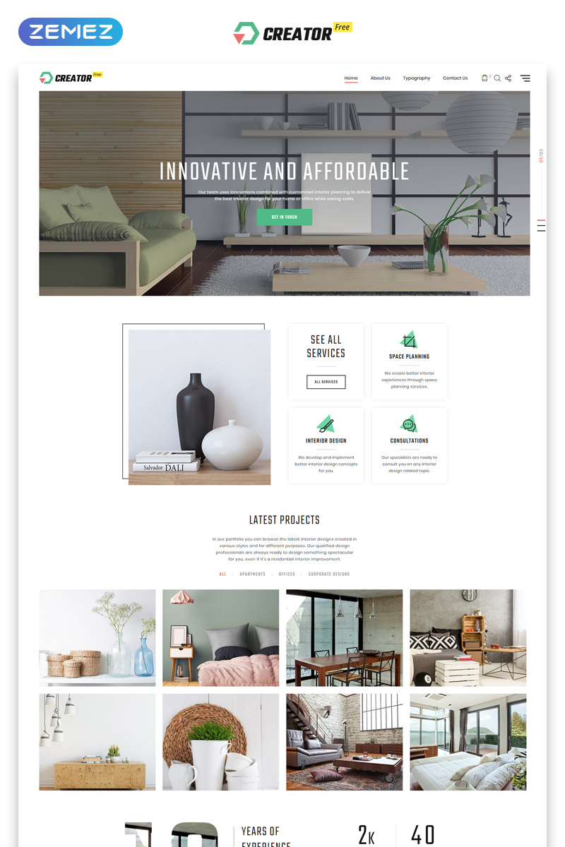 Responsivt Free HTML5 Theme for Exterior Design Website Hemsidemall #51675 - skärmbild