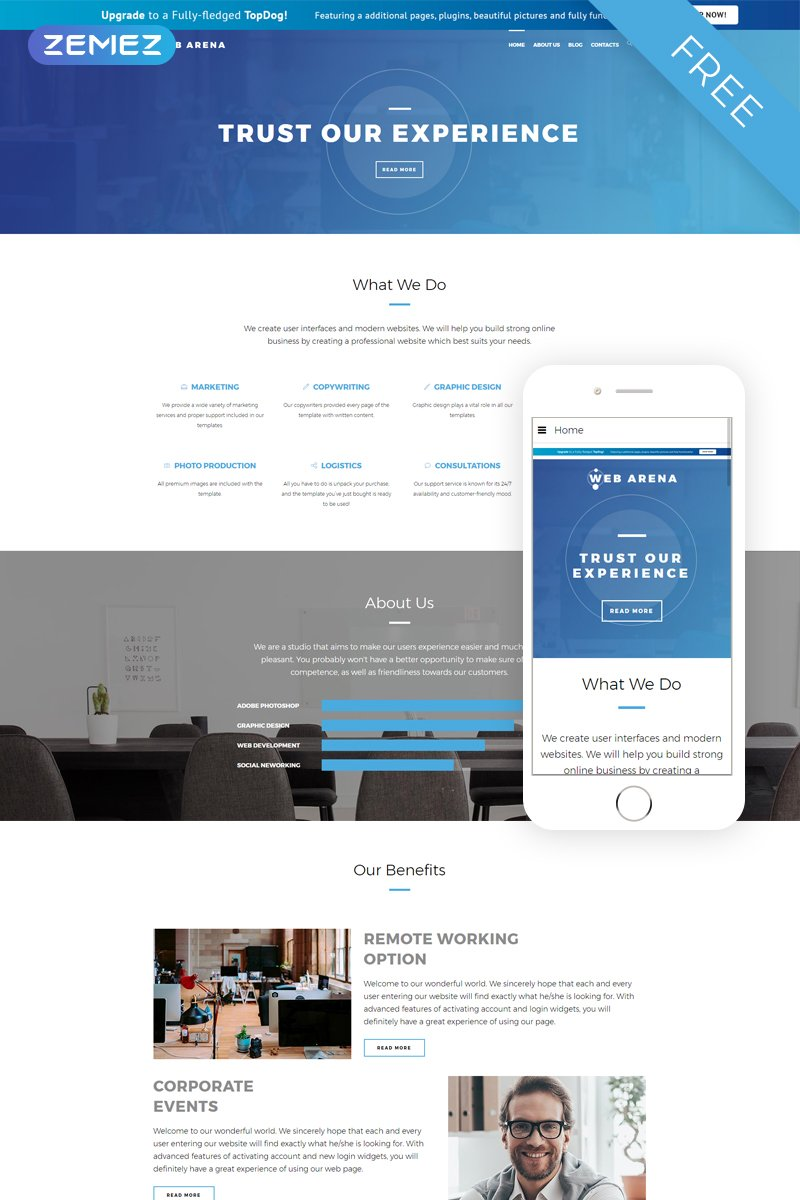 "Template Joomla #51622 ""Web Arena - Consulting Company Free"""