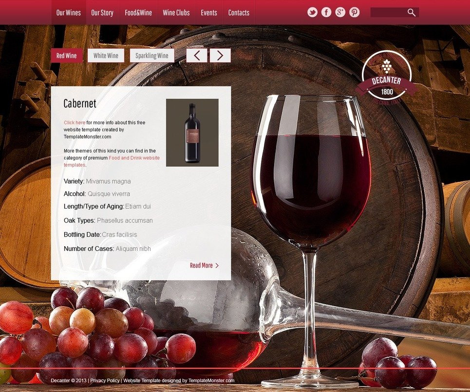 wine winery free html5 theme