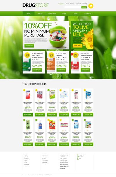 Адаптивный WooCommerce шаблон №51697 на тему аптека