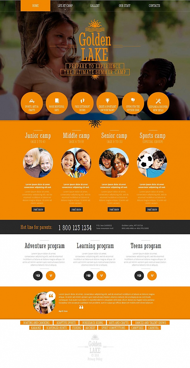 Summer Recreation Website Template - image