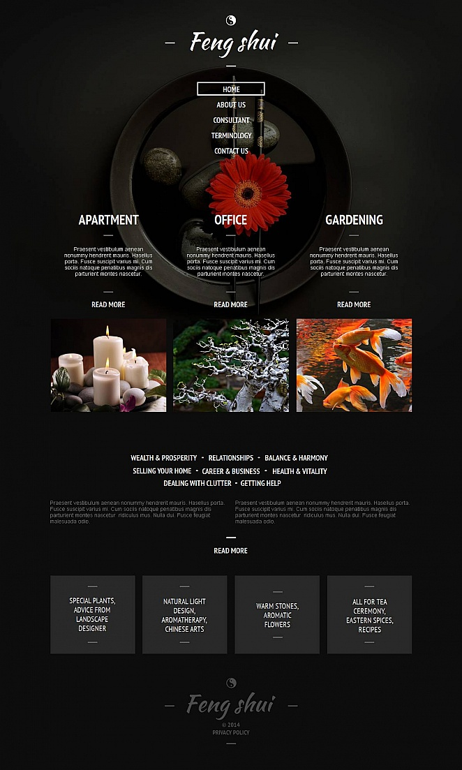 Feng Shui Interior Website Template with Vertical Menu Tabs - image