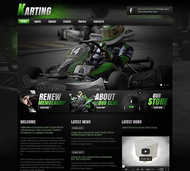 Premium Moto CMS HTML Template over Karting  New Screenshots BIG