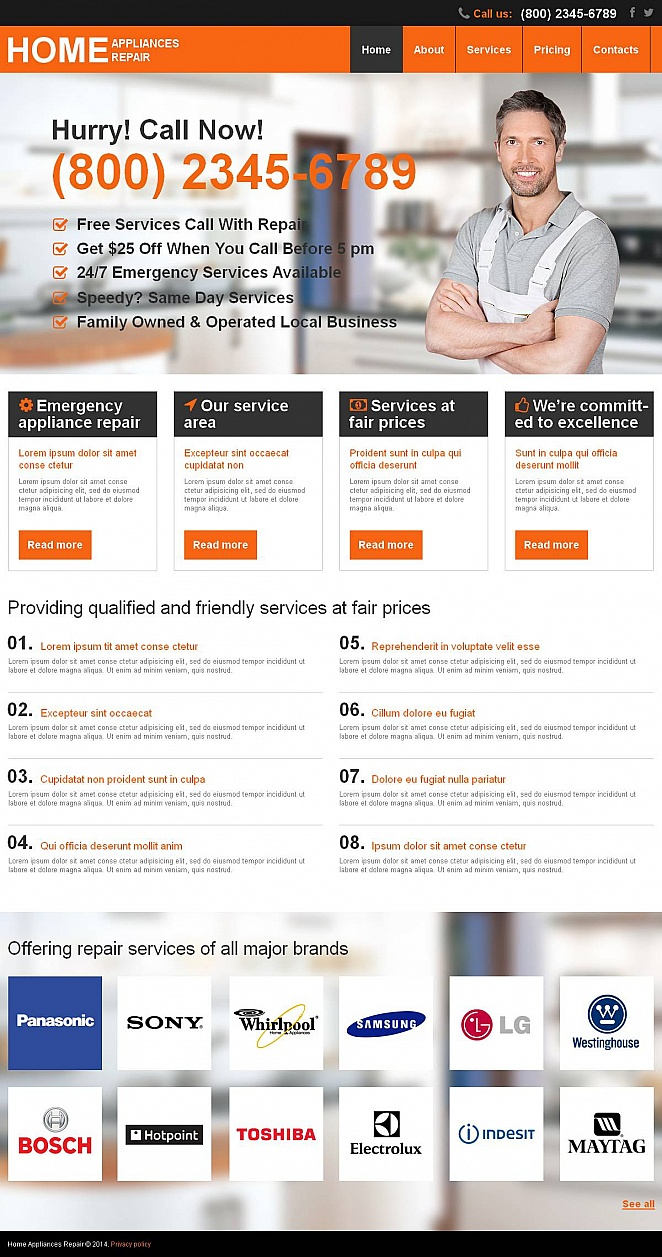 Appliance Repair Services Website Template - image