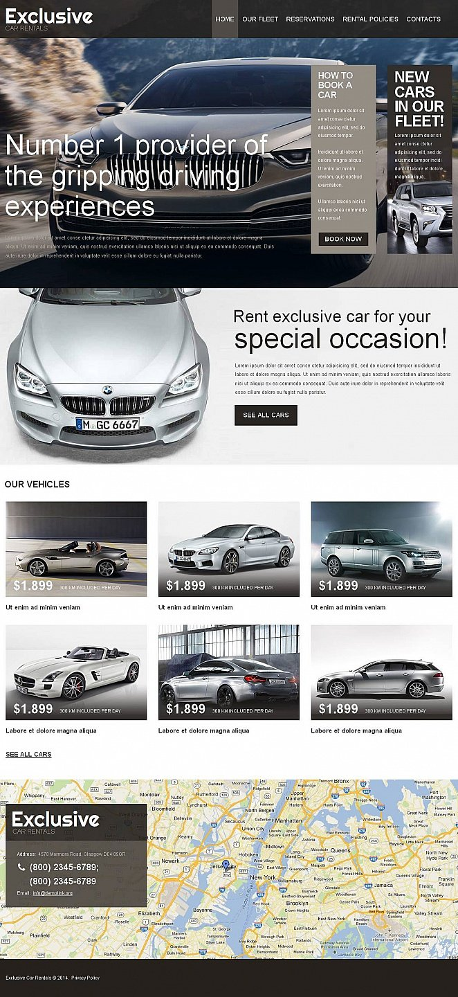 Car Rental Web Template with a Large Map in Footer - image