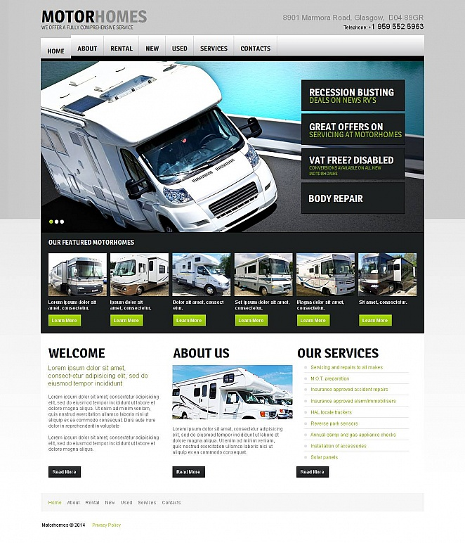 Motorhomes Website Template with Flexible Design - image