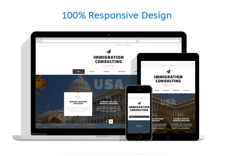 Immigration Consulting Responsive Website Template #51798