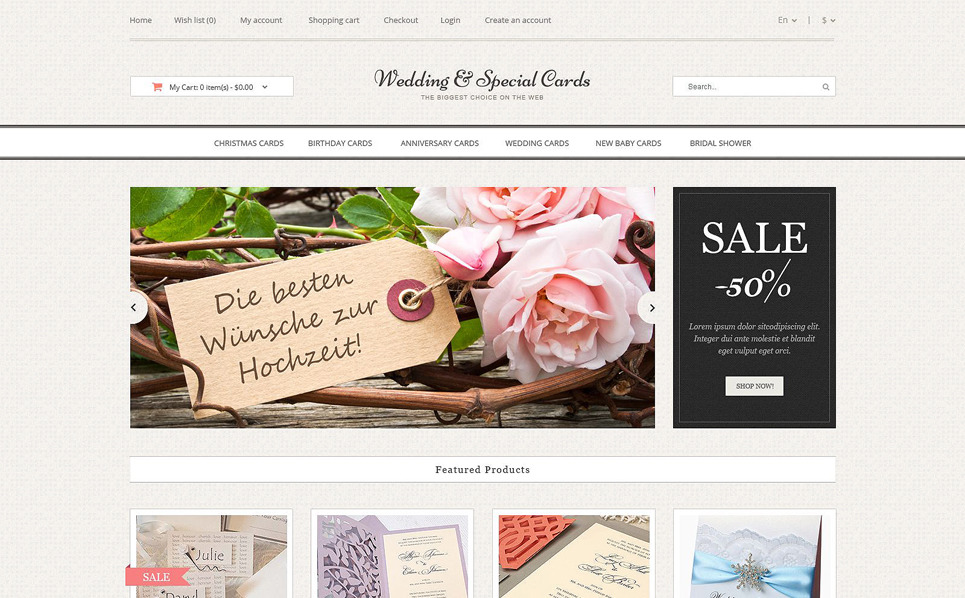 """OpenCart Vorlage namens """"Hochzeitskarten Online Shop"""" New Screenshots BIG"""
