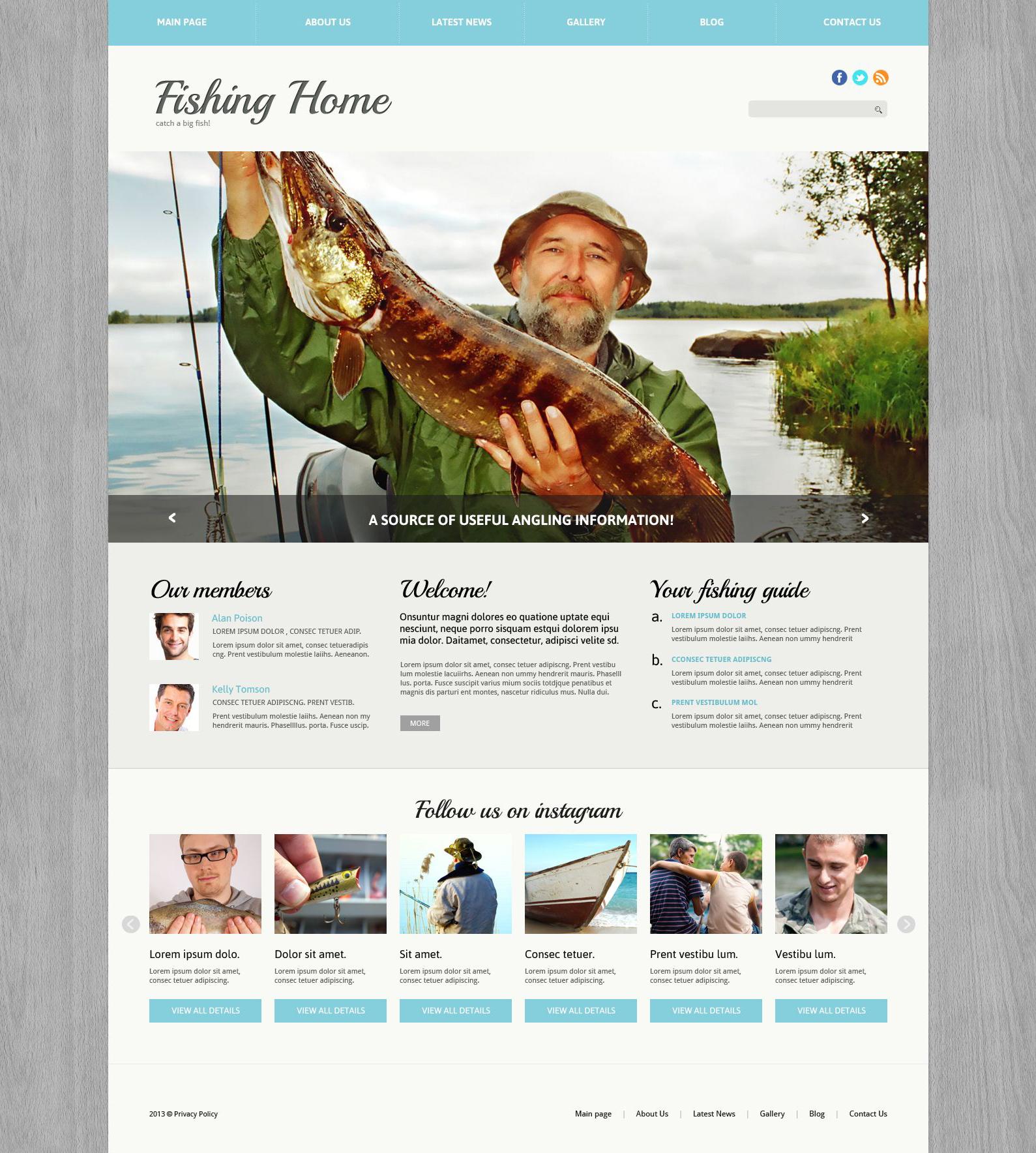 Адаптивный Joomla шаблон №51764 на тему рыбалка - скриншот