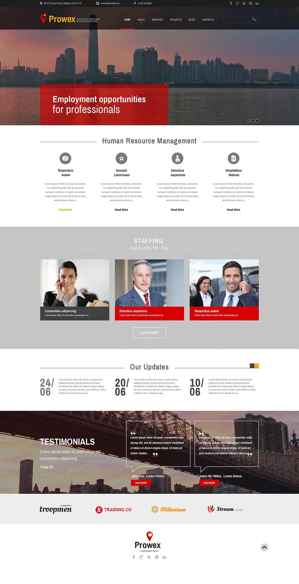 Адаптивный шаблон сайта на тему трудоустройство #51738