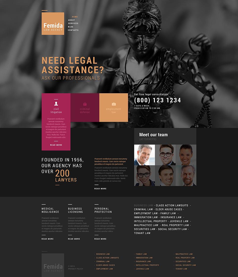 Адаптивный шаблон сайта на тему юридическая фирма #51769