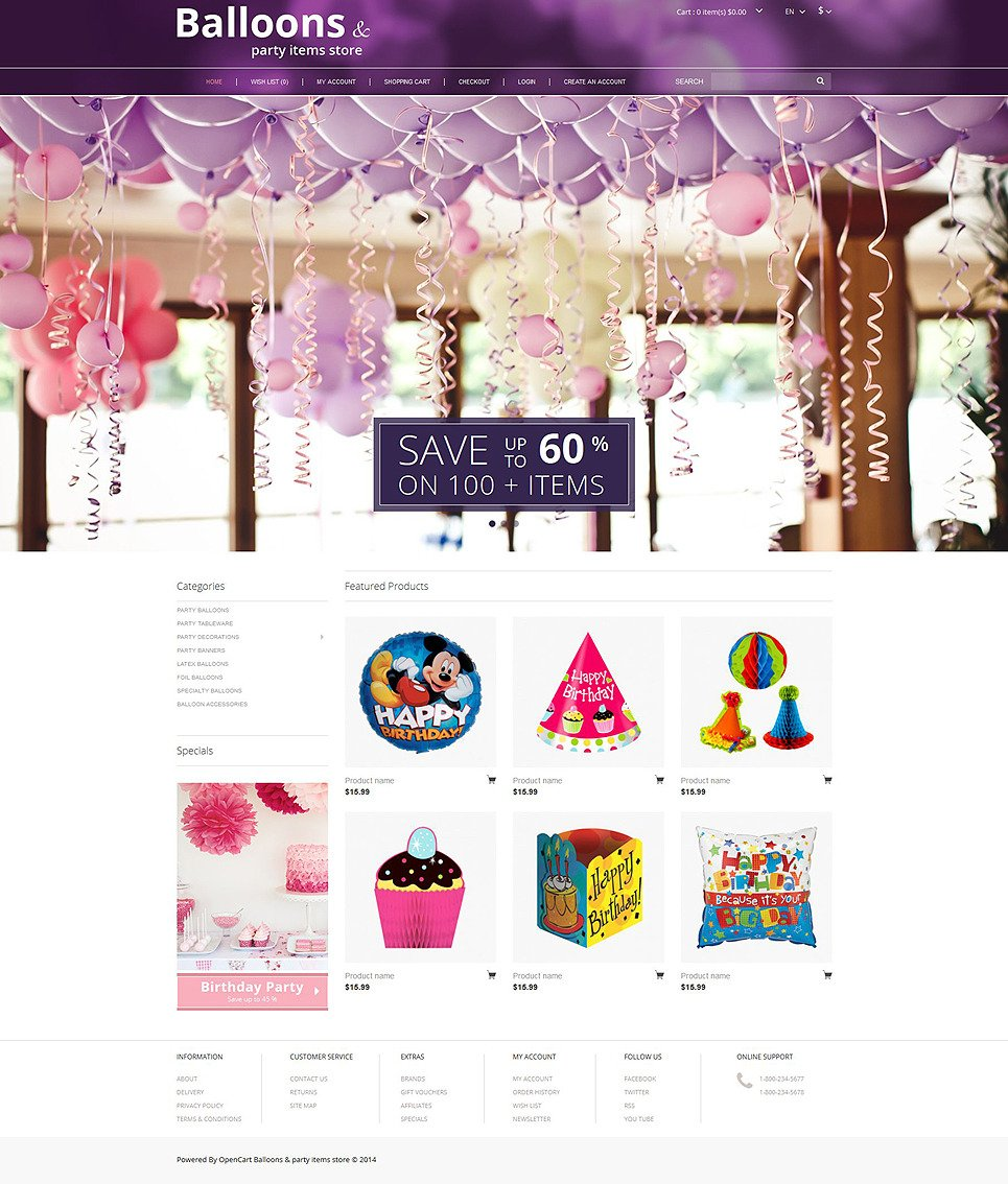 Balloons and Party Stuff OpenCart Template New Screenshots BIG