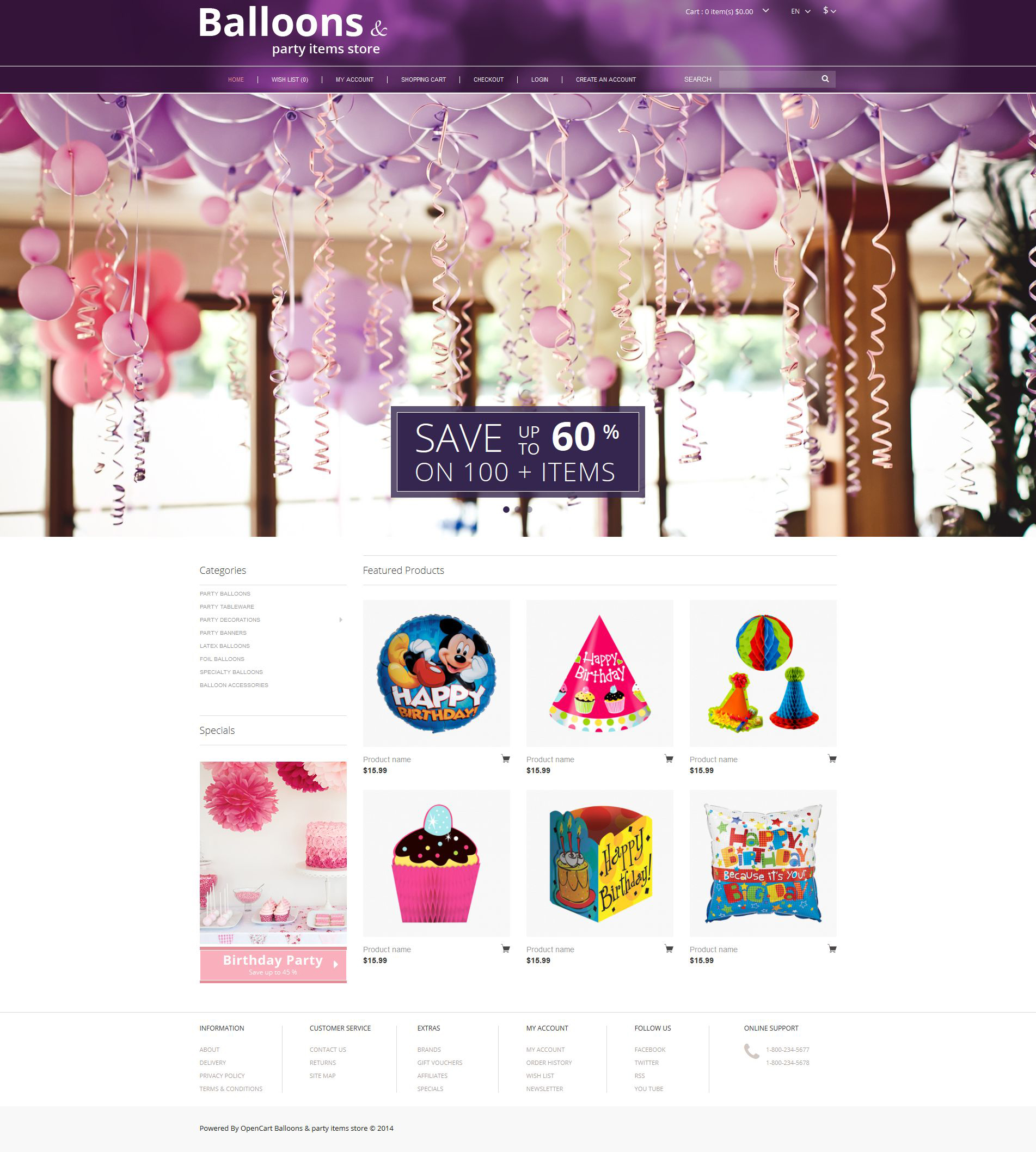 Balloons and Party Stuff OpenCart Template #51728