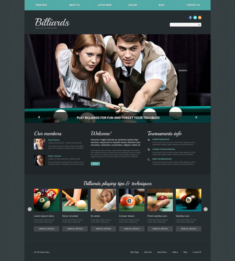Billiards Responsive Joomla Template New Screenshots BIG
