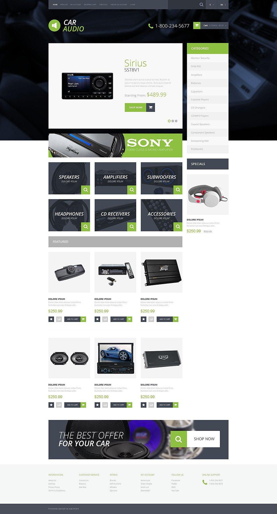 Car Audio Video OpenCart Template New Screenshots BIG