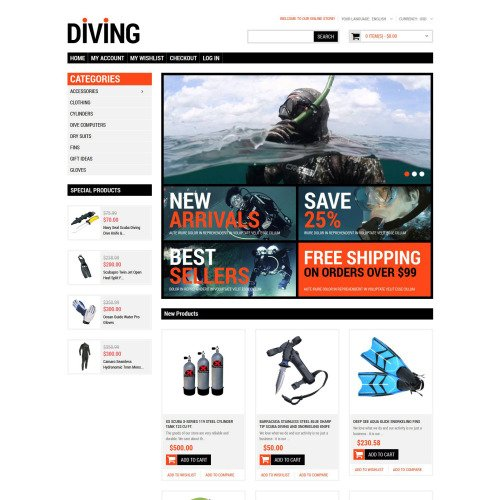 Diving Shop - Responsive Magento Template