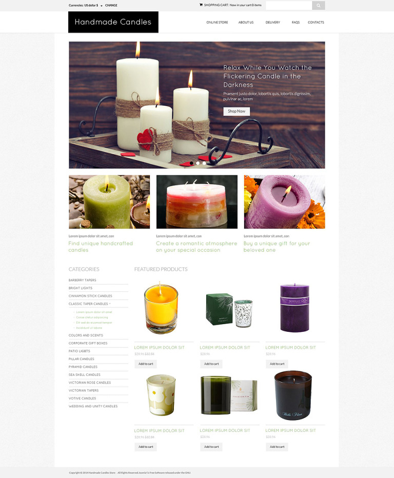 DIY Candles Spot VirtueMart Template New Screenshots BIG